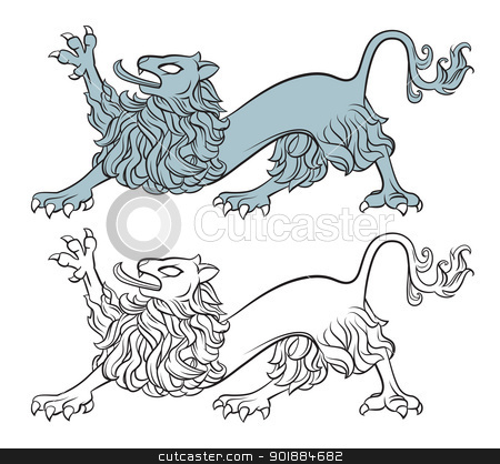 Heraldic lion stock vector clipart, lion illustration isolated on white, heraldry style by Moenez
