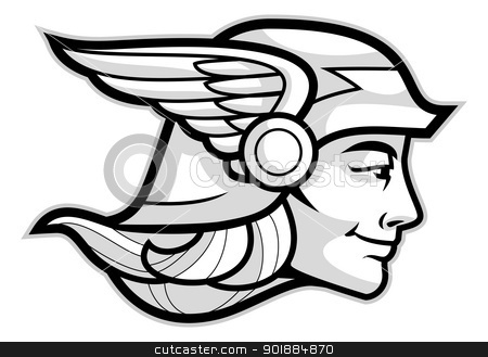 Hermes stock vector clipart, Head of a Greek god Hermes isolated on white by Moenez