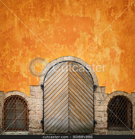Gates stock photo, gates with two windows of ground floor by Sergej Razvodovskij