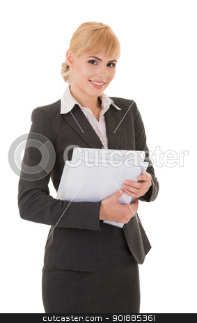 Young smiling business woman with documents stock photo, Young smiling business woman with documents isolated on white background by Iryna Rasko