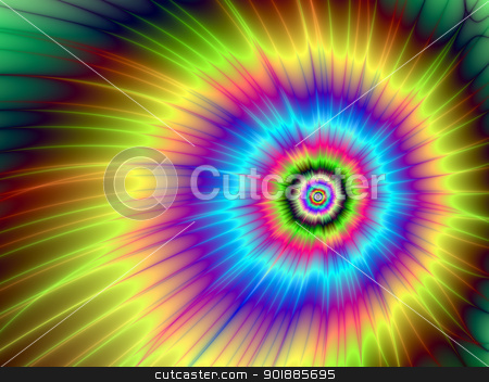 Color Explosion Tie-Dyed stock photo, Digital abstract image with a tie-dye explosion of color design in yellow, blue, purple, green, and red by Colin Forrest