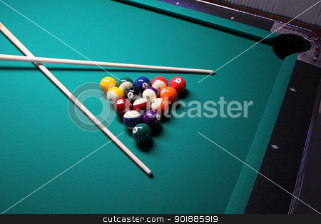 A game of 8 Ball, racked and ready to go! stock photo,  A game of 8 Ball, racked and ready to go! by jetcityimage