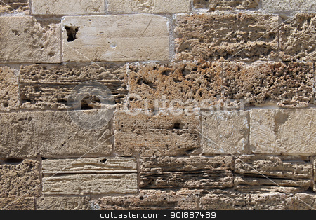 Ancient brick wall stock photo, Ancient brick wall of old Roman building with textured surface. by Martin Crowdy