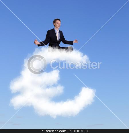 Businessman meditating sitting on the cloud stock photo, Businessman meditating sitting on the white cloud by Sergey Nivens