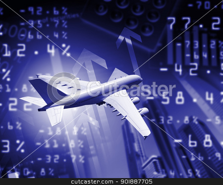 Plane against business background stock photo, Image of a plane against business background by Sergey Nivens