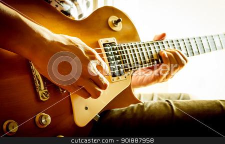 man playing electric guitar   stock photo, man playing electric guitar with nature light by moggara12