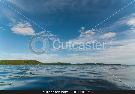 Canadian Lake in Summer stock photo, A Canadian lake in the Muskoka region of Ontario in the summertime. by Brian Guest