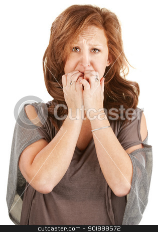 Scared European Woman stock photo, Paranoid European woman with hands over her mouth by Scott Griessel