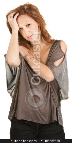 Depressed Caucasian Woman stock photo, Sad young woman with head in hand over white background by Scott Griessel