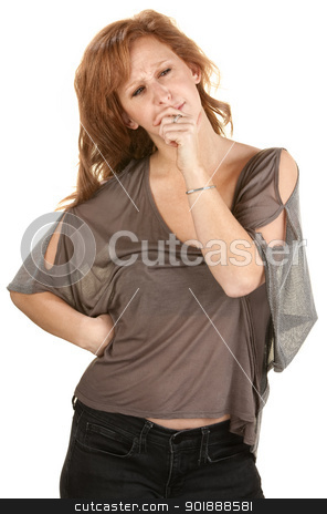 Thinking Woman stock photo, Serious woman with hand on chin over white background by Scott Griessel