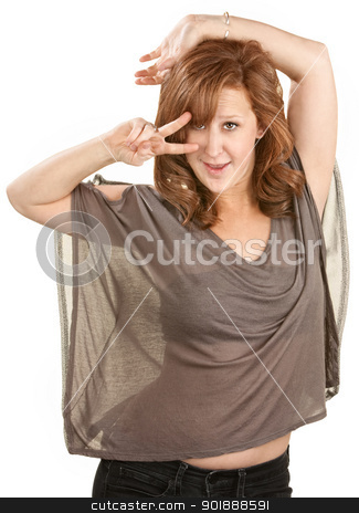 Attractive European Woman Dancing stock photo, Attractive European woman dancing with fingers near eyes by Scott Griessel