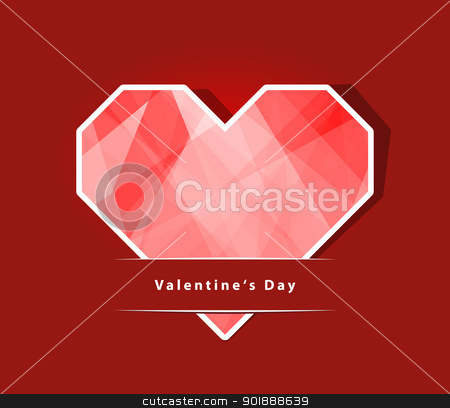 Valentines Day card stock photo, Card Valentines Day with a heart made of paper. EPS 10 vector illustration. Used transparency layer of background by Imaster