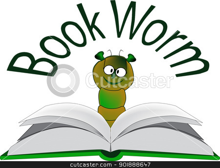 Book Worm. stock vector clipart, A bookworm cartoon. The book worm is eagerly examining a new hardback book. by Kotto