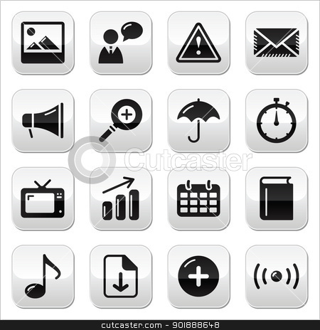 Website internet glossy sqaure buttons set stock vector clipart, Modern application website buttons set with black icons on by Agnieszka Bernacka