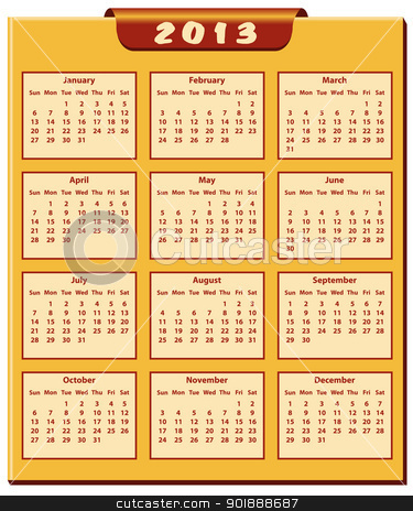 Calendar 2013 year stock vector clipart, Calendar 2013 full year. January through to December months. by toots77
