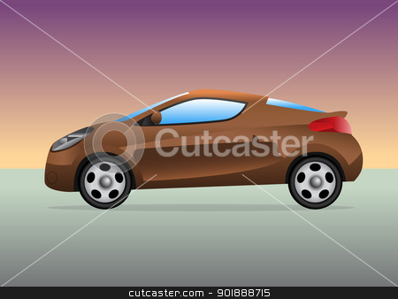 Sports car with color background stock vector clipart, Sports car with color gradient background. by lkeskinen