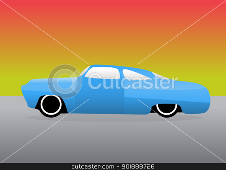 Hot rod car blue stock vector clipart, Hot rod car with color gradient background.  by lkeskinen