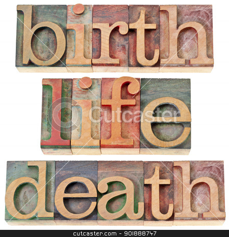 birth, life, and death words stock photo, birth, life, and death - isolated words in vintage letterpress wood type stained by color inks by Marek Uliasz