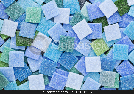 blue and green mosaic tiles stock photo, random background of blue and green square glass mosaic tiles by Marek Uliasz