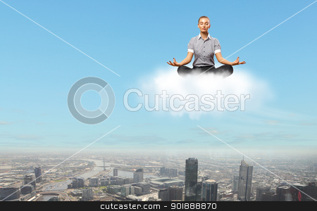 Businesswoman meditating sitting on the cloud stock photo, Businesswoman meditating sitting on the white cloud by Sergey Nivens