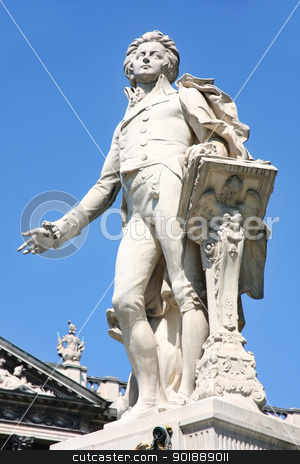 Statue of Wolfgang Amadeus Mozart in Vienna stock photo, Statue of Wolfgang Amadeus Mozart, Burggarten in Vienna, Austria by vladacanon1