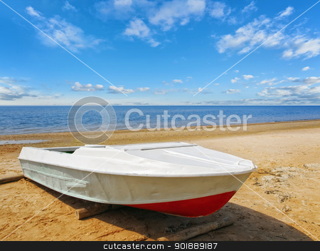 Sea boat at beach  stock photo, Sea boat at beach in sunny day by Sergej Razvodovskij