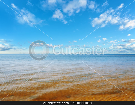 sea or ocean horizon stock photo, sea or ocean horizon, blue cloudy sky  by Sergej Razvodovskij