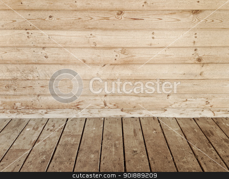 empty room stock photo, empty room with wooden wall and floor by Sergej Razvodovskij