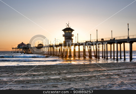 Huntington Beach Pier stock photo, Scenic HDR landscape Huntington Beach (Surf City) pier by Cheryl Valle