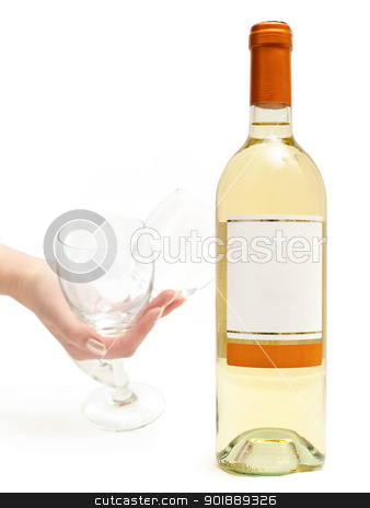 white wine with wineglass in hand stock photo,  bottle of the white wine with wineglass in hand against the white background by Sergej Razvodovskij