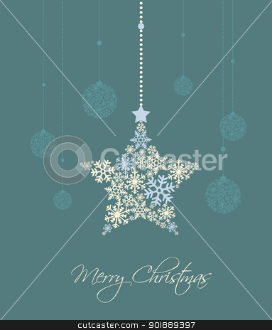 Christmas star stock vector clipart, christmas star and decoration ball on a blue background by Miroslava Hlavacova
