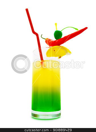 Cocktail stock photo, multicolored cocktail with chilli pepper, lemon and cherry against white background  by Sergej Razvodovskij