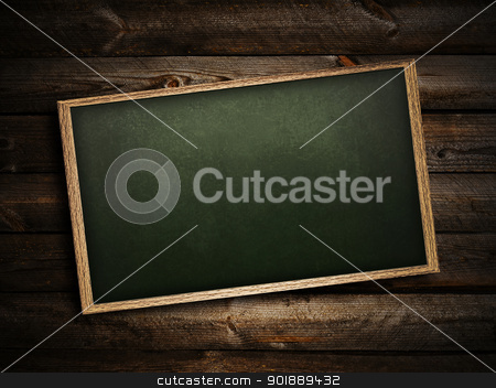 blackboard stock photo, School blackboard at abstract dark wooden background   by Sergej Razvodovskij