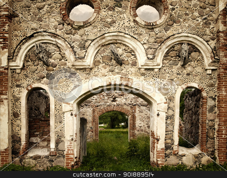 old castle stock photo, Stone ruins of the old castle by Sergej Razvodovskij