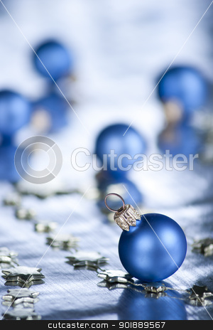 Christmas decoration. stock photo, Christmas decoration with bauble. Selective focus on ball..  by Piotr Skubisz