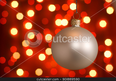 Christmas ball. stock photo, Silver christmas ball. by Piotr Skubisz