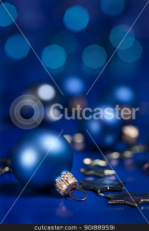 Christmas decoration. stock photo, Christmas ball decoration. Selective focus on ball. by Piotr Skubisz