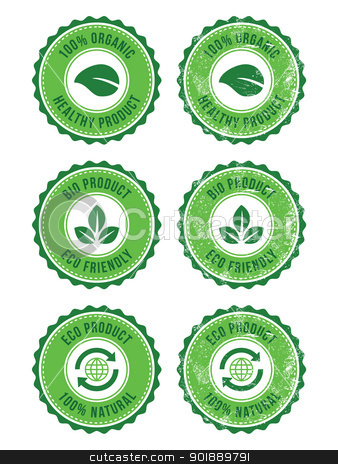 Green 100% organic natural eco product retro labels stock vector clipart, Green vintage badges - grunge style. Ecology, bio, recycling, healthy food concept by Agnieszka Bernacka