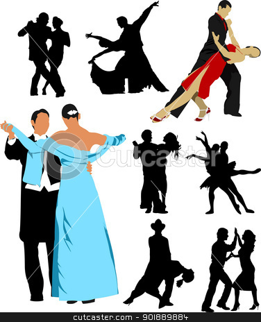 Silhouette dancing people for design. Vector illustration stock vector clipart, Silhouette dancing people for design. Vector illustration by Leonid Dorfman