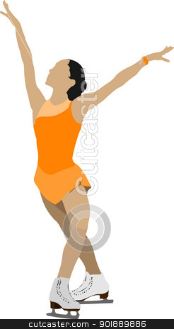 Woman Figure skating colored silhouette. Vector illustration stock vector clipart, Woman Figure skating colored silhouette. Vector illustration by Leonid Dorfman
