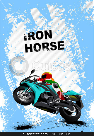 Grunge blue background with motorcycle image. Iron horse. Vector stock vector clipart, Grunge blue background with motorcycle image. Iron horse. Vector illustration by Leonid Dorfman