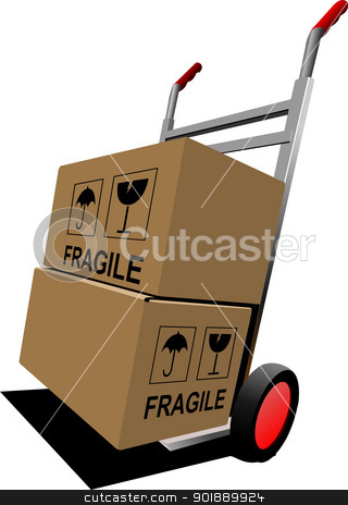 Boxes on hand pallet truck. Vector illustration stock vector clipart, Boxes on hand pallet truck. Vector illustration by Leonid Dorfman