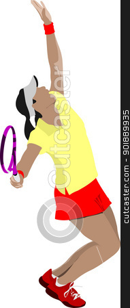 Tennis player. Colored Vector illustration for designers stock vector clipart, Tennis player. Colored Vector illustration for designers by Leonid Dorfman
