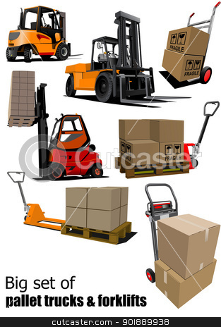 Big set of Forklifts and pallet trucks Vector illustration stock vector clipart, Big set of Forklifts and pallet trucks Vector illustration by Leonid Dorfman
