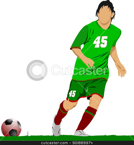 Soccer football player. Colored Vector illustration for designer stock vector clipart, Soccer football player. Colored Vector illustration for designers by Leonid Dorfman