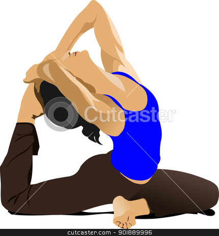 Yoga pose - vector poster stock vector clipart, Yoga pose - vector poster by Leonid Dorfman