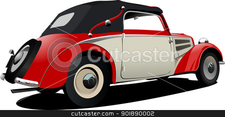 Red-white 50-years car cabriolet on the road. Vector illustratio stock vector clipart, Red-white 50-years car cabriolet on the road. Vector illustration by Leonid Dorfman