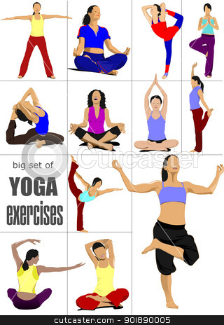 Big set of Yoga exercises - vector poster stock vector clipart, Big set of Yoga exercises - vector poster by Leonid Dorfman