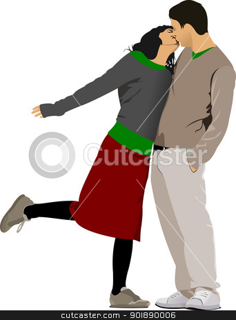 Kissing Couple vector illustration stock vector clipart, Kissing Couple vector illustration by Leonid Dorfman