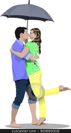 Kissing Couple with umbrella vector illustration stock vector clipart, Kissing Couple with umbrella vector illustration by Leonid Dorfman